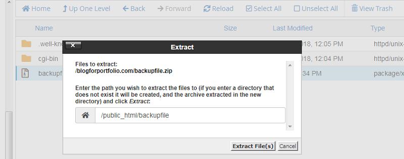 خارج کردن فایل zip در cpanel