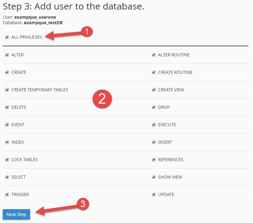 انتخاب تمامی مجوزهای دسترسی کاربر