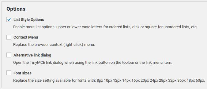 تنظیمات بیشتر در افزونه TinyMCE Advanced