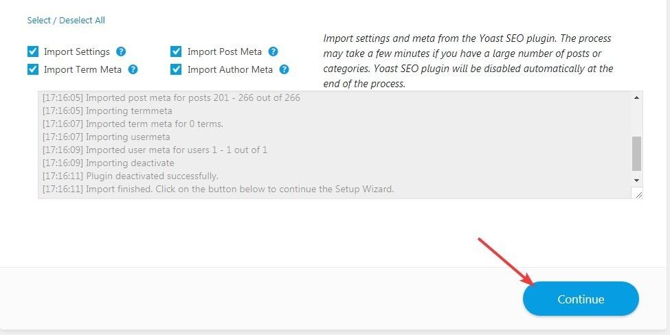 continue button - بهترین آموزش 0 تا 100 افزونه Rank Math + همراه با ویدئوی آموزشی