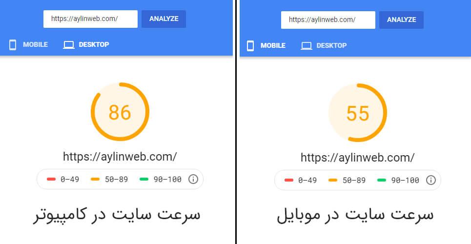 مقایسه سرعت موبایل و دسکتاپ