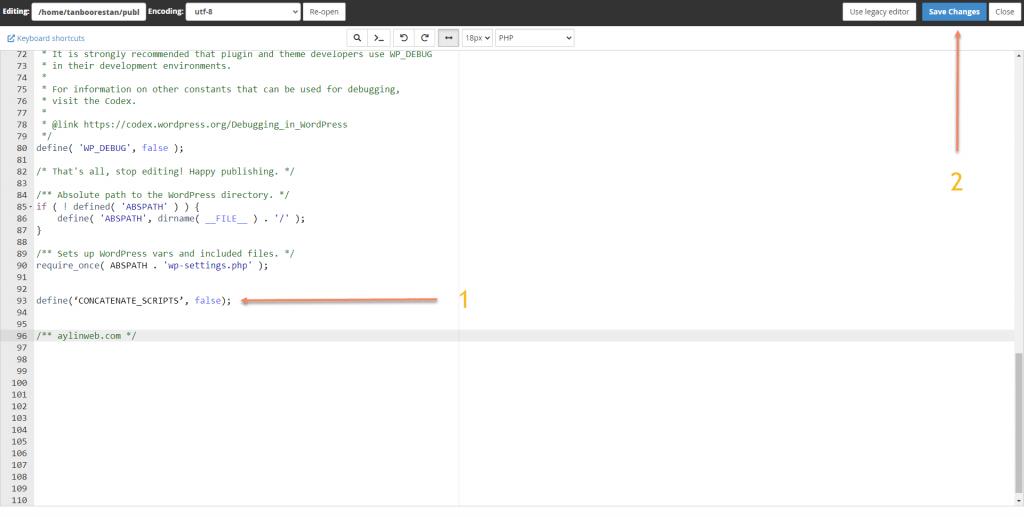 ذخیره تغییرات فایل wp-config.php