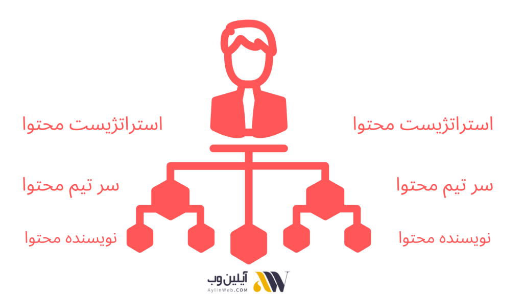 اینفوگرافیک ساختار تیم تولید محتوا