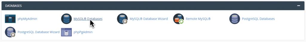 بخش mysql databases در cpanel