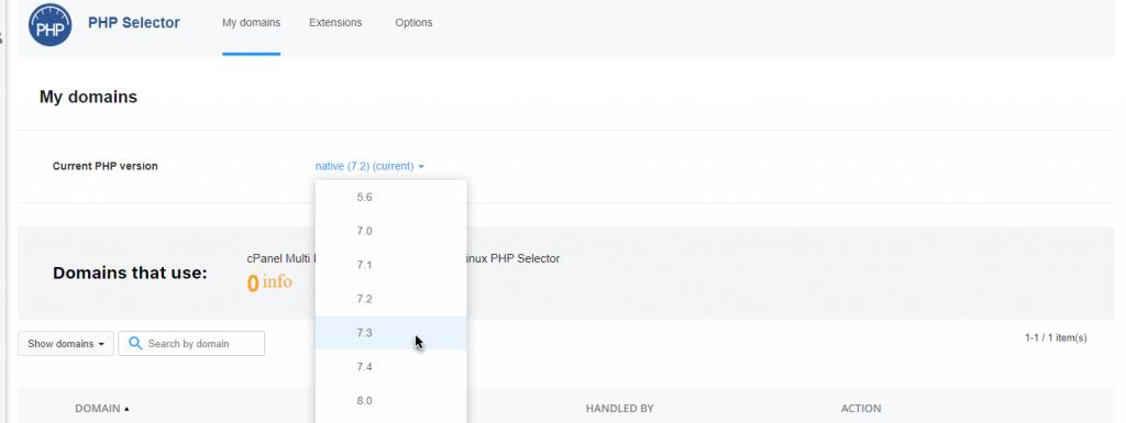 بروزرسانی نسخه php